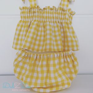Dulzzes blusa culote vichy amarillo ropa infantil hecho a mano