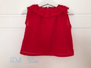 Dulzzes blusa plumeti rojas ropa infantil hecho a mano