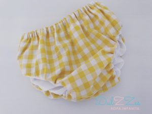 Dulzzes culote basico vichy amarillo ropa infantil hecho a mano
