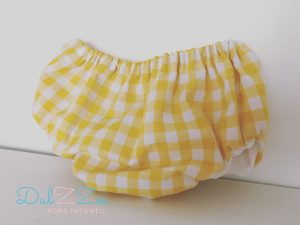 Dulzzes culote vichy amarillo ropa infantil hecho a mano
