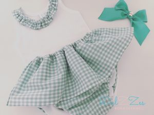 Dulzzes culote volante vichy verde agua body lazo ropa infantil hecho a mano