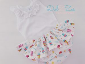 Dulzzes Culote volante helados ropa infantil hecho a mano